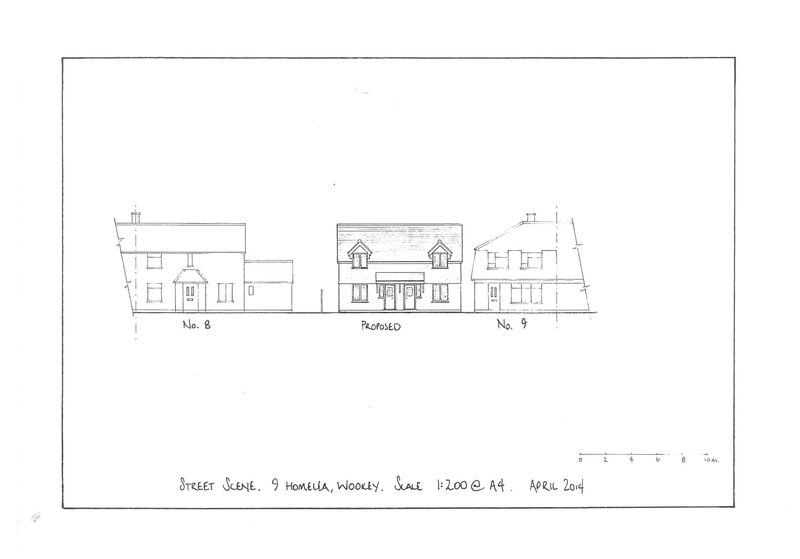 Street scene with proposed dwellings